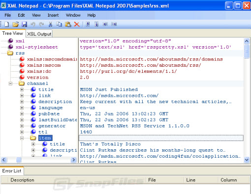 Download Microsoft XML Notepad app for free
